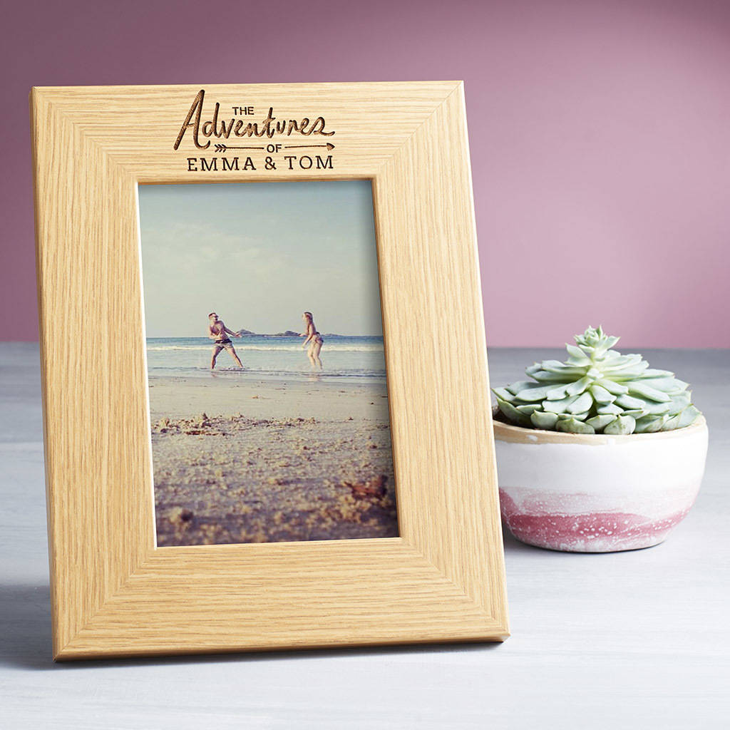 Personalised Photo Frame Adventures Of 5th Anniversary Wood