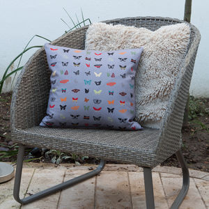Curious Butterfly Midnight Grey Cushion