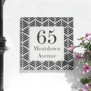 Personalised House Number Sign, Geometric Deco