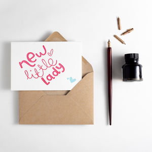 'New Little Lady' Letterpress New Baby Card