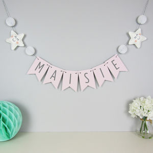 Personalised Star Name Bunting With Honeycomb Pom Poms - baby's room