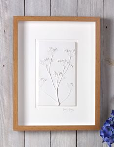 Cow Parsley Large Plaster Cast Tile Framed - nature & landscape