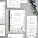 Wild Blue Hedgerow Wedding Invite Sample
