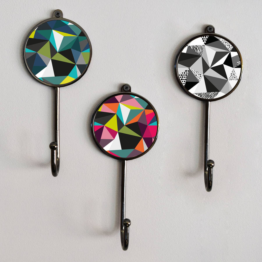 Colourful Geometric Wall Coat Hooks