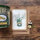Feverfew Posy In Golden Syrup Tin Greeting Card
