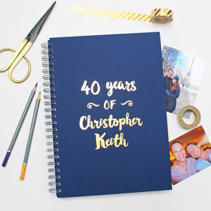 Personalised Milestone Birthday Memory Book - 40th birthday gifts