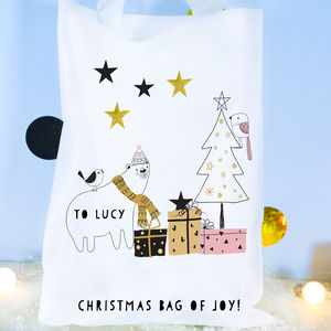Personalised Scandi Christmas Bag 'Bear' - wrapping