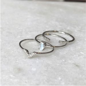 Three * Diamond And Moonstone Stacking Rings Set - new in jewellery