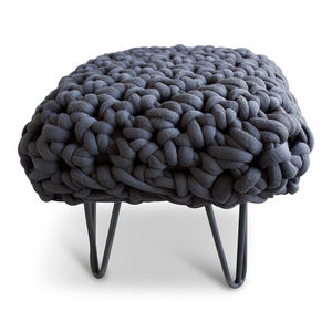 'Oberon' Handwoven Yarn Footstool - furniture