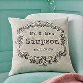 Vintage Style 'Mr And Mrs' Cushion Cover - anniversary gifts