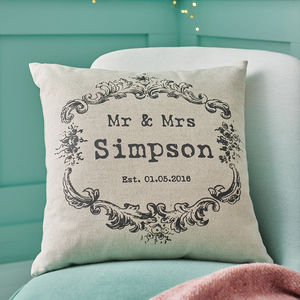 Vintage Style 'Mr And Mrs' Cushion Cover - personalised