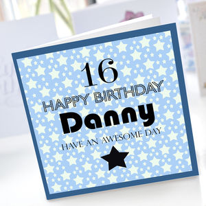 Boys 16th Birthday Star Card