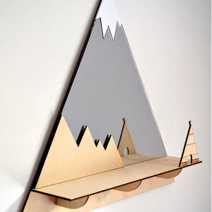 Tee Pee Mountain Peak Decorative Mirror And Shelf - mirrors