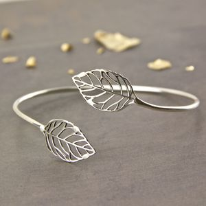 Sterling Silver Leaf Open Bangle Cuff - bracelets & bangles