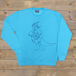 Warrior Bear And Dinosaur Jumper - hoodies & sweatshirts