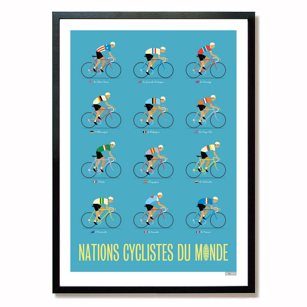 Bicycle Print Cycling Nations Of The World