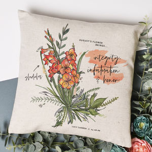 Personalised Birth Month Flower Cushion Cover - living room