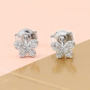 Sterling Silver Butterfly Sparkle Earrings - earrings