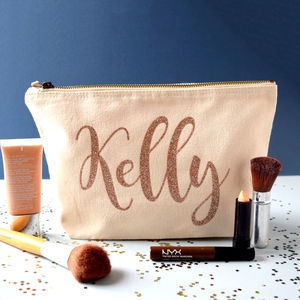 Personalised Sparkly Name Make Up Bag