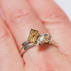 Mouse And Cheese Precious Ring Set - jewellery sale