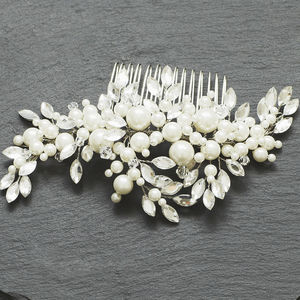 Pearl And Leaf Confetti Comb - bridal hairpieces