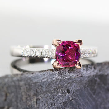 Pixie Rubellite And Diamond Ring