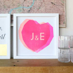 Couples Initials Heart Stencil Print - modern graphic art
