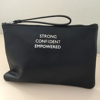 Slogan Leather Clutch With Satin Lining