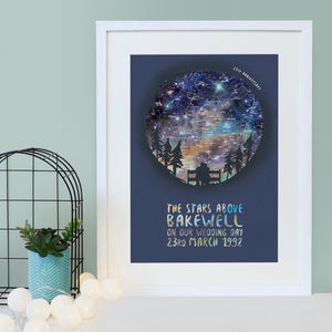 Personalised Couple Map Of The Stars - 100 best wedding prints