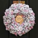 Personalised Frosted Pink Christmas Wreath