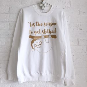 'Tis The Season To Get Slothed' Christmas Jumper - women's fashion