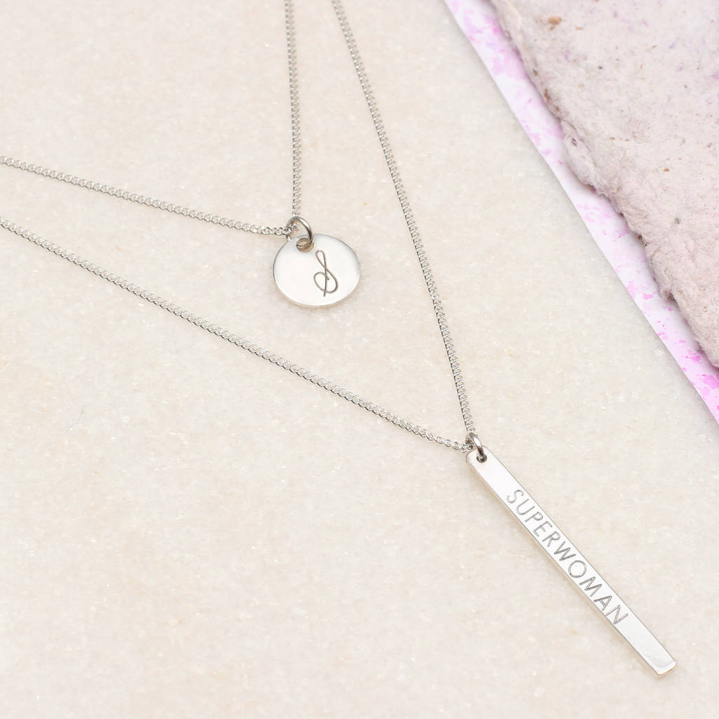 Personalised Sterling Silver Layered Necklace by Hurleyburley