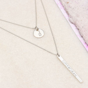 Personalised Sterling Silver Layered Necklace