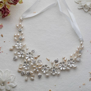 Aditi Crystal And Pearl Silver Hairvine