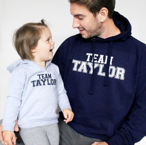 'Team Surname' Father And Child Hoodie Set - personalised gifts for families