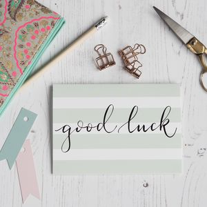 Good Luck Striped Card - good luck cards