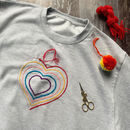 Diy Embroidery Rainbow Heart Unisex Childrens Sweat
