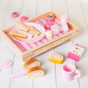 Personalised Pink Wooden Toy Kitchen Breakfast Set - traditional toys & games
