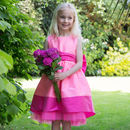 Pink Taffeta Bow Flower Girls Occasion Party Dress