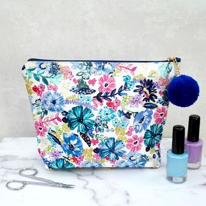 Blue Floral Pom Pom Make Up Bag From