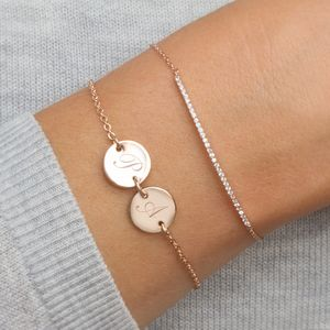 Personalised Initial Double Disc Bracelet - wedding jewellery