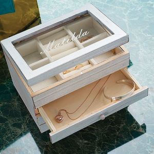 Personalised Wooden Jewellery Box With Drawer - 50th birthday gifts