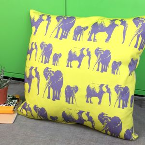 Elephant Family Cushion - living room