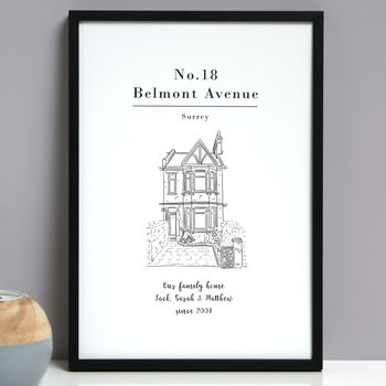 Personalised House Portrait Line Drawing Print