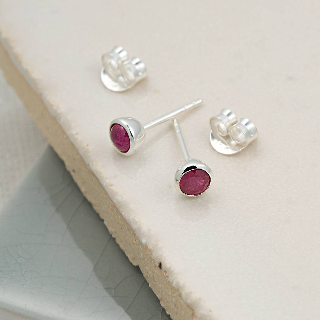 Ruby July Birthstone Earrings By Lily Charmed