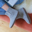 Fair Trade Handmade Felt Unisex Slipper Boot Suede Sole