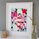 'We Adore You' Motivational Flower Papercut Print