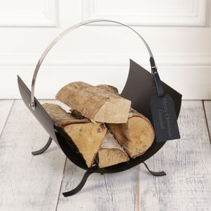 Personalised Contemporary Matt Black Log Store - magazine racks