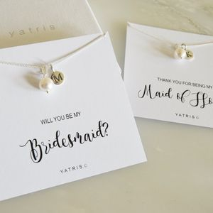 Personalised Bridesmaid Pearl Necklace Gift Box