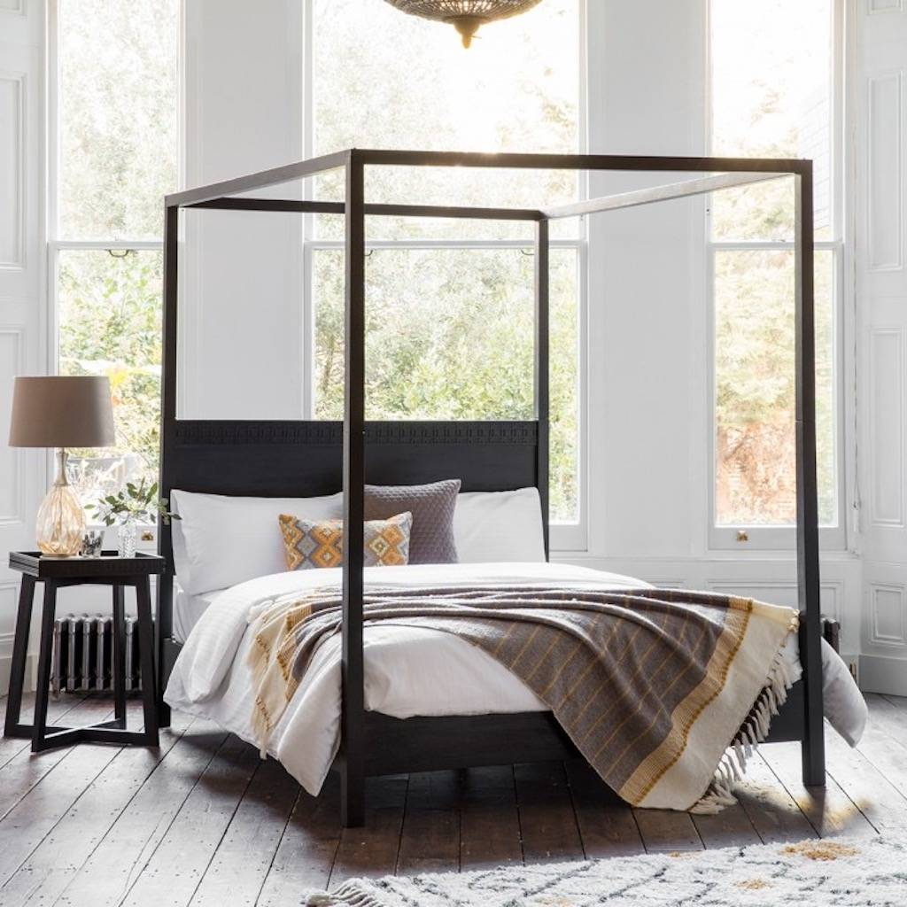 Black Boho Four Poster Bed By The Forest Co Notonthehighstreetcom